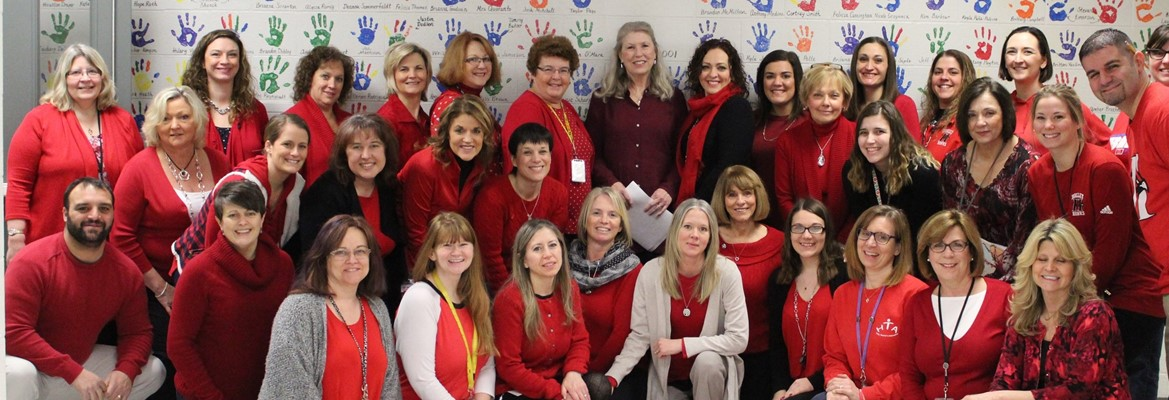 faculty and staff wearing red
