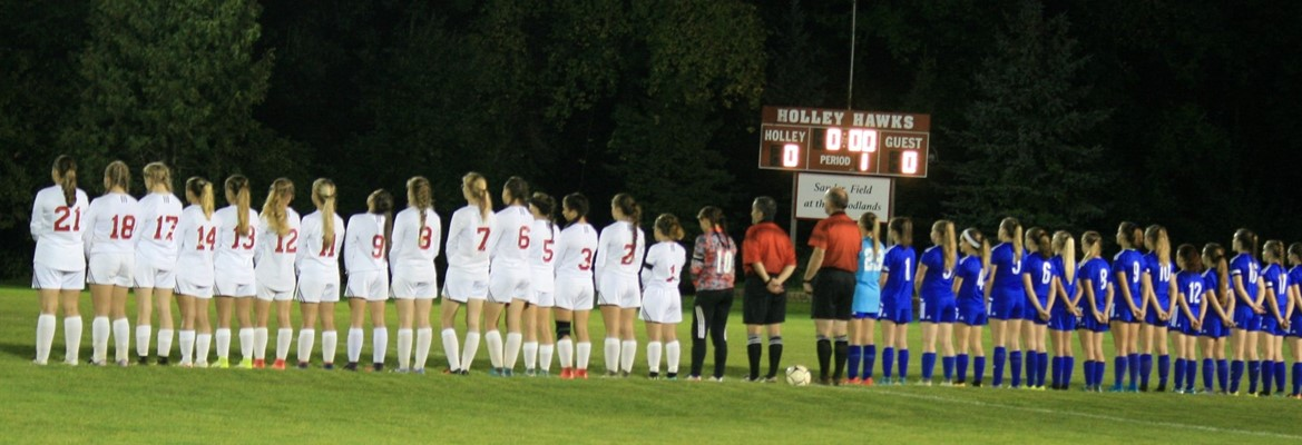 girls soccer team lined up on field
